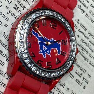 Jewelry - 🤑 3/$20 SMU Mustang Licensed Rhinestone Red Watch